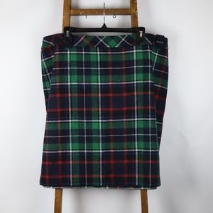 Green/Navy/Red/White Wool Checkered Skirt